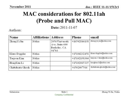 Submission doc.: IEEE 11-11/1512r1 Company Confidential November 2011 Slide 1 MAC considerations for 802.11ah (Probe and Pull MAC) Date: 2011-11-07 Authors: