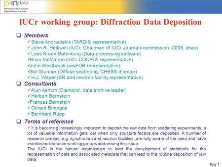 Hjw 1 IUCr working group: Diffraction Data Deposition  Members Steve Androulakis (TARDIS representative) John R. Helliwell (IUCr, Chairman of IUCr Journals.