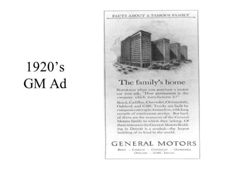 "1920's GM Ad. The ""Sloan Meetings"" These were special meetings, held twice per year in Detroit, under the chairmanship of Mr. Sloan. Acute problems (across."