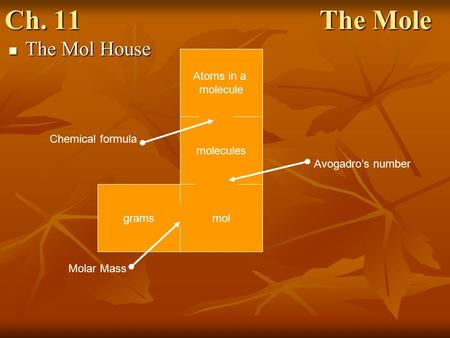 Ch. 11 The Mole The Mol House The Mol House Atoms in a molecule molecules molgrams Molar Mass Avogadro's number Chemical formula.