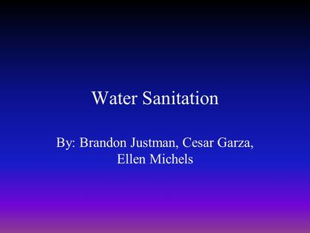 Water Sanitation By: Brandon Justman, Cesar Garza, Ellen Michels.