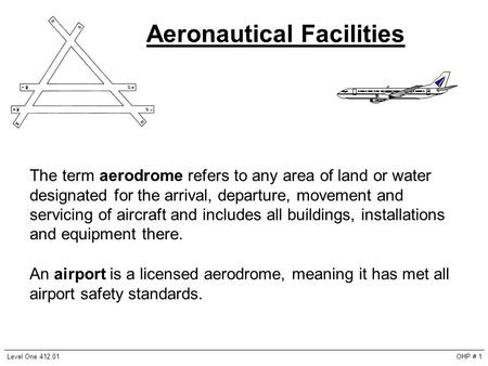 Aeronautical Facilities The term aerodrome refers to any area of land or water designated for the arrival, departure, movement and servicing of aircraft.