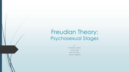 Freudian Theory: Psychosexual Stages by Yennifer Castillo Taylor Lee Rayven Osby Marvin Williams.