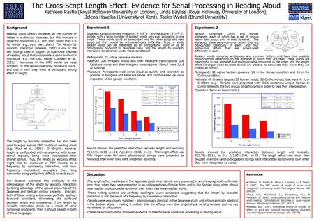 The Cross-Script Length Effect: Evidence for Serial Processing in Reading Aloud Kathleen Rastle (Royal Holloway University of London), Linda Bayliss (Royal.