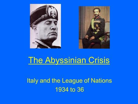 Italy and the League of Nations 1934 to 36