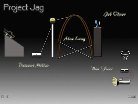 Device Overview Project Jag is a Rube-Goldberg device which utilizes gravity to perform the task of turning on a light bulb.