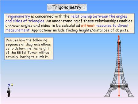 Discuss how the following sequence of diagrams allows us to determine the height of the Eiffel Tower without actually having to climb it. Trigonometry.