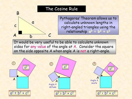 The Cosine Rule A B C a c b Pythagoras' Theorem allows us to calculate unknown lengths in right-angled triangles using the relationship a 2 = b 2 + c 2.
