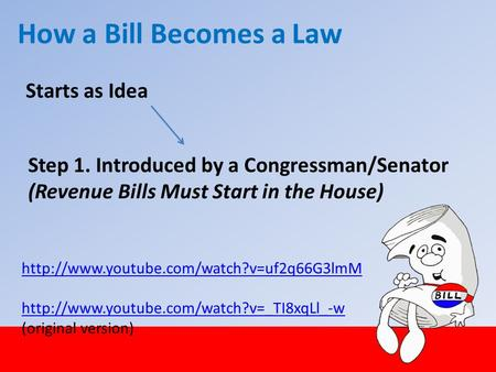 Starts as Idea How a Bill Becomes a Law Step 1. Introduced by a Congressman/Senator (Revenue Bills Must Start in the House)