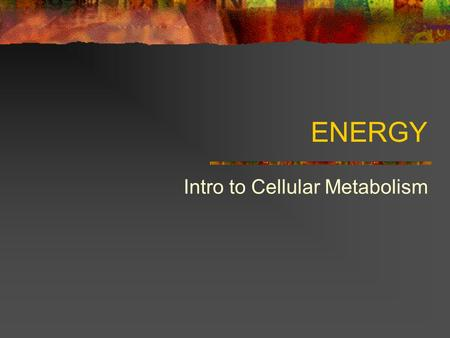 ENERGY Intro to Cellular Metabolism. Metabolism: Metabolism – totality of an organism's chemical reactions Catabolic pathways – metabolic path that releases.