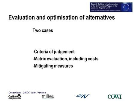 Consultant: CMDC Joint Venture 1 Evaluation and optimisation of alternatives Two cases - Criteria of judgement - Matrix evaluation, including costs - Mitigating.