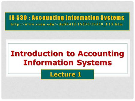 Introduction to Accounting Information Systems