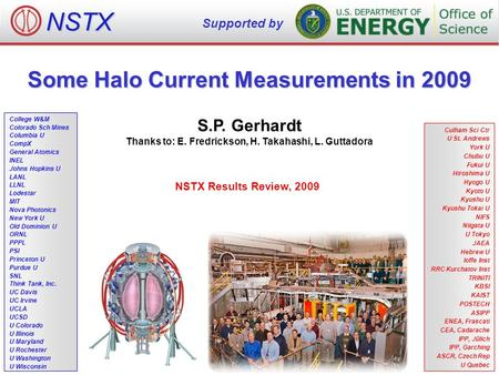Some Halo Current Measurements in 2009 S.P. Gerhardt Thanks to: E. Fredrickson, H. Takahashi, L. Guttadora NSTX Results Review, 2009 NSTX Supported by.