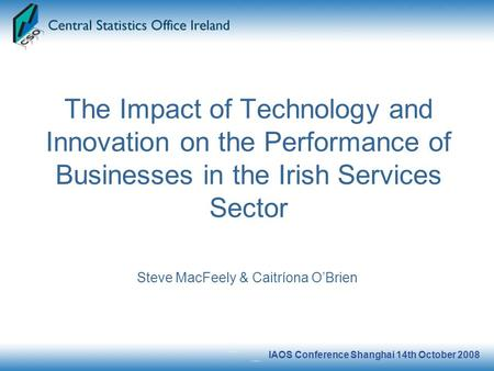 IAOS Conference Shanghai 14th October 2008 The Impact of Technology and Innovation on the Performance of Businesses in the Irish Services Sector Steve.