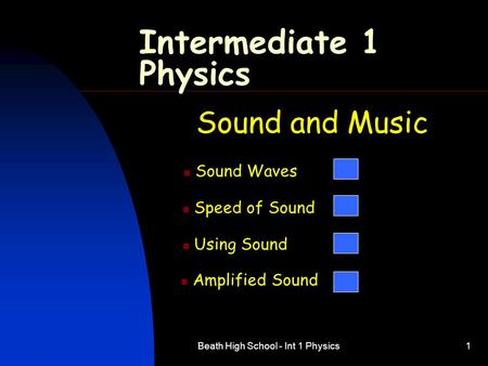 Beath High School - Int 1 Physics1 Intermediate 1 Physics Sound and Music Sound Waves Speed of Sound Using Sound Amplified Sound.