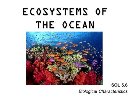 ECOSYSTEMS OF THE OCEAN SOL 5.6 Biological Characteristics.