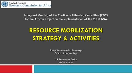 RESOURCE MOBILIZATION STRATEGY & ACTIVITIES Inaugural Meeting of the Continental Steering Committee (CSC) for the African Project on the Implementation.