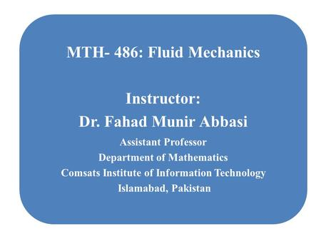 Department of Mathematics Comsats Institute of Information Technology