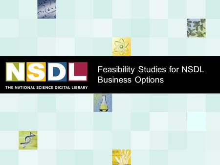 Feasibility Studies for NSDL Business Options. Overview of the Problem and the Plan The Problem and Context  The NSDL is an NSF research program now,