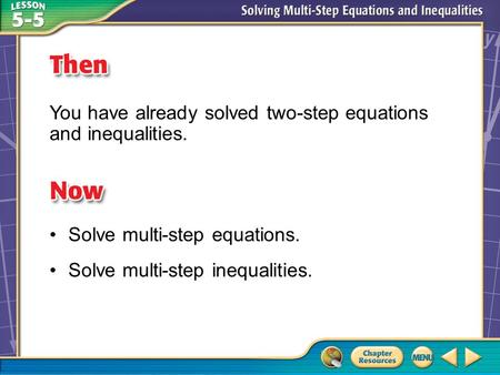 Then/Now You have already solved two-step equations and inequalities. Solve multi-step equations. Solve multi-step inequalities.
