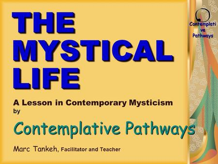 Contemplati ve Pathways THE MYSTICAL LIFE A Lesson in Contemporary Mysticism by Contemplative Pathways Marc Tankeh, Facilitator and Teacher.