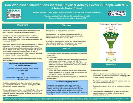 Can Web-based Interventions Increase Physical Activity Levels in People with MS? A Systematic Review Protocol Rachel Dennett 1* Kim Algie 1 Elaine Coulter.