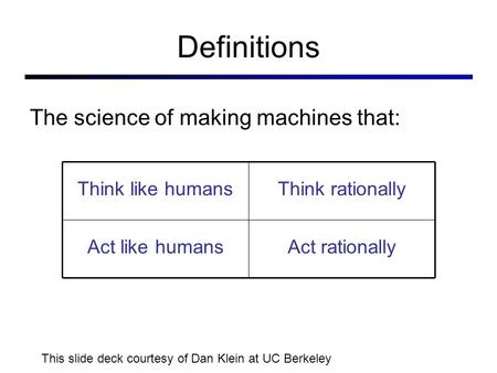 Definitions Think like humansThink rationally Act like humansAct rationally The science of making machines that: This slide deck courtesy of Dan Klein.
