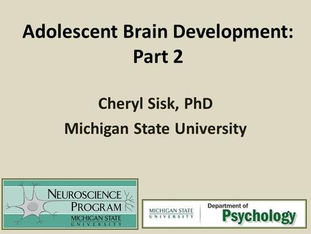 Adolescent Brain Development: Part 2 Cheryl Sisk, PhD Michigan State University.