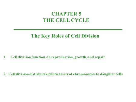 CHAPTER 5 THE CELL CYCLE The Key Roles of Cell Division 1.Cell division functions in reproduction, growth, and repair 2. Cell division distributes identical.