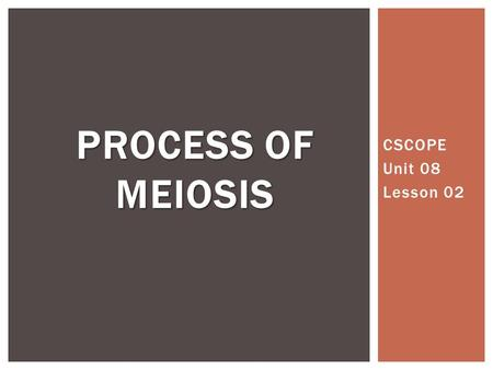 CSCOPE Unit 08 Lesson 02 PROCESS OF MEIOSIS. Asexual ReproductionSexual Reproduction Uses only mitosis Produces clones—genetically identical offspring.