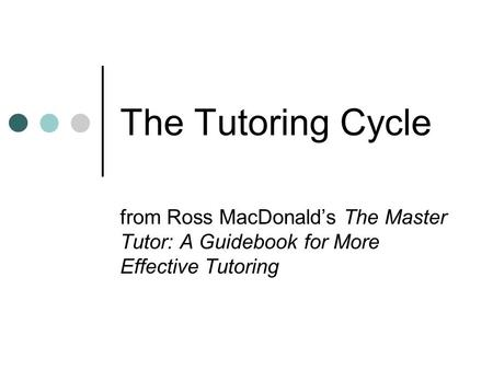 The Tutoring Cycle from Ross MacDonald's The Master Tutor: A Guidebook for More Effective Tutoring.