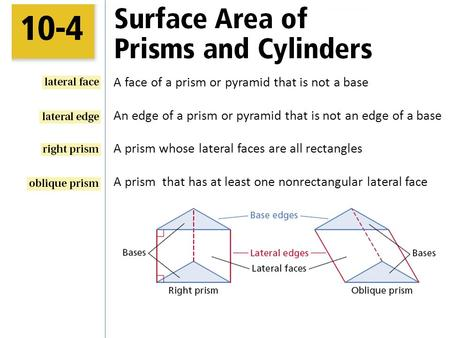 A face of a prism or pyramid that is not a base An edge of a prism or pyramid that is not an edge of a base A prism whose lateral faces are all rectangles.
