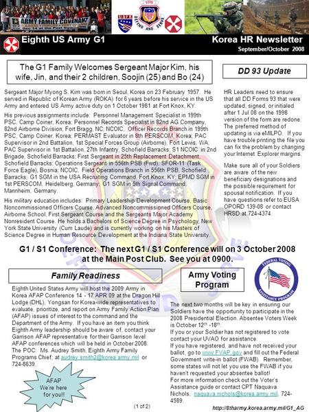 AFAP We're here for you!! Eighth US Army G1 Korea HR Newsletter September/October 2008  (1 of 2) Eighth United States.