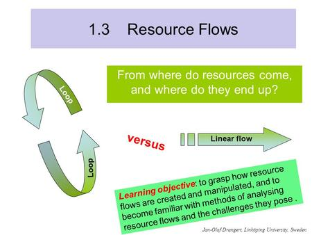 1.3 Resource Flows From where do resources come, and where do they end up? versus Learning objective: to grasp how resource flows are created and manipulated,