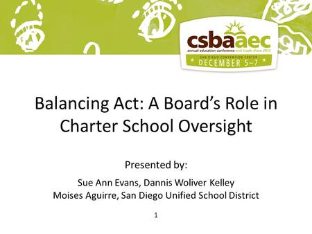1 Balancing Act: A Board's Role in Charter School Oversight Presented by: Sue Ann Evans, Dannis Woliver Kelley Moises Aguirre, San Diego Unified School.