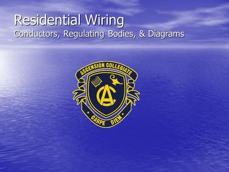 Residential Wiring Conductors, Regulating Bodies, & Diagrams.