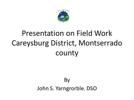 Presentation on Field Work Careysburg District, Montserrado county By John S. Yarngrorble. DSO.