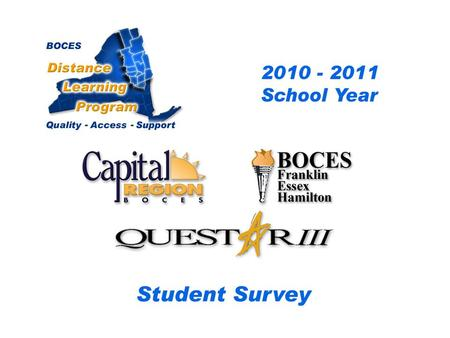 .. CRB/FEH/Questar III Distance Learning Project Student Survey 2009– 2010 School Year BOCES Distance Learning Program Quality Access Support.