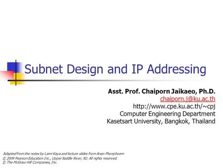 Subnet Design and IP Addressing