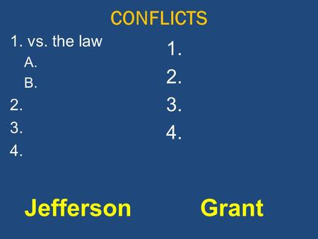 CONFLICTS JeffersonGrant 1. vs. the law A. B. 2. 3. 4. 1. 2. 3. 4.