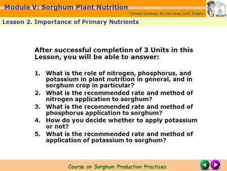 After successful completion of 3 Units in this Lesson, you will be able to answer: 1.What is the role of nitrogen, phosphorus, and potassium in plant nutrition.