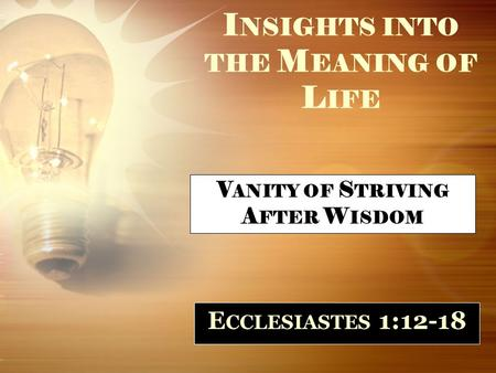 I NSIGHTS INTO THE M EANING OF L IFE E CCLESIASTES 1:12-18 V ANITY OF S TRIVING A FTER W ISDOM.