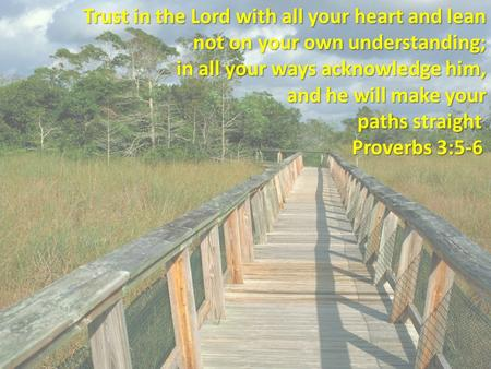 Trust in the Lord with all your heart and lean not on your own understanding; in all your ways acknowledge him, and he will make your paths straight paths.