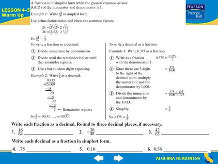 ALGEBRA READINESS LESSON 4-5 Warm Up. ALGEBRA READINESS LESSON 4-4 Warm Up.