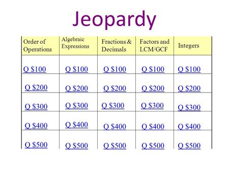 Jeopardy Order of Operations Algebraic Expressions Fractions & Decimals Factors and LCM/GCF Integers Q $100 Q $200 Q $300 Q $400 Q $500 Q $100 Q $200.