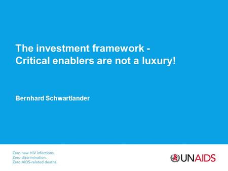 The investment framework - Critical enablers are not a luxury! Bernhard Schwartlander.