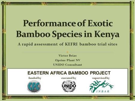 A rapid assessment of KEFRI bamboo trial sites Victor Brias Oprins Plant NV UNIDO Consultant EASTERN AFRICA BAMBOO PROJECT funded by executed by supervised.