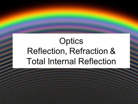 Optics Reflection, Refraction & Total Internal Reflection.