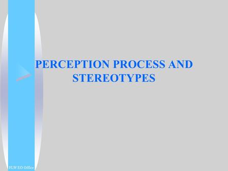 PERCEPTION PROCESS AND STEREOTYPES FLW EO Office.