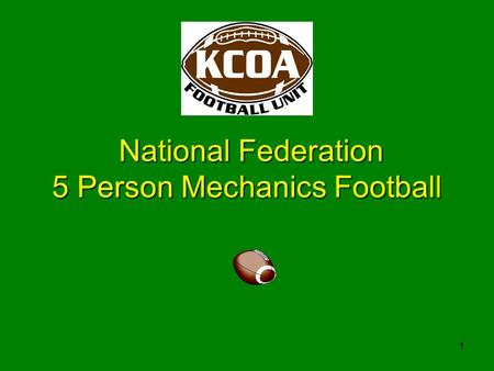 1 National Federation 5 Person Mechanics Football.